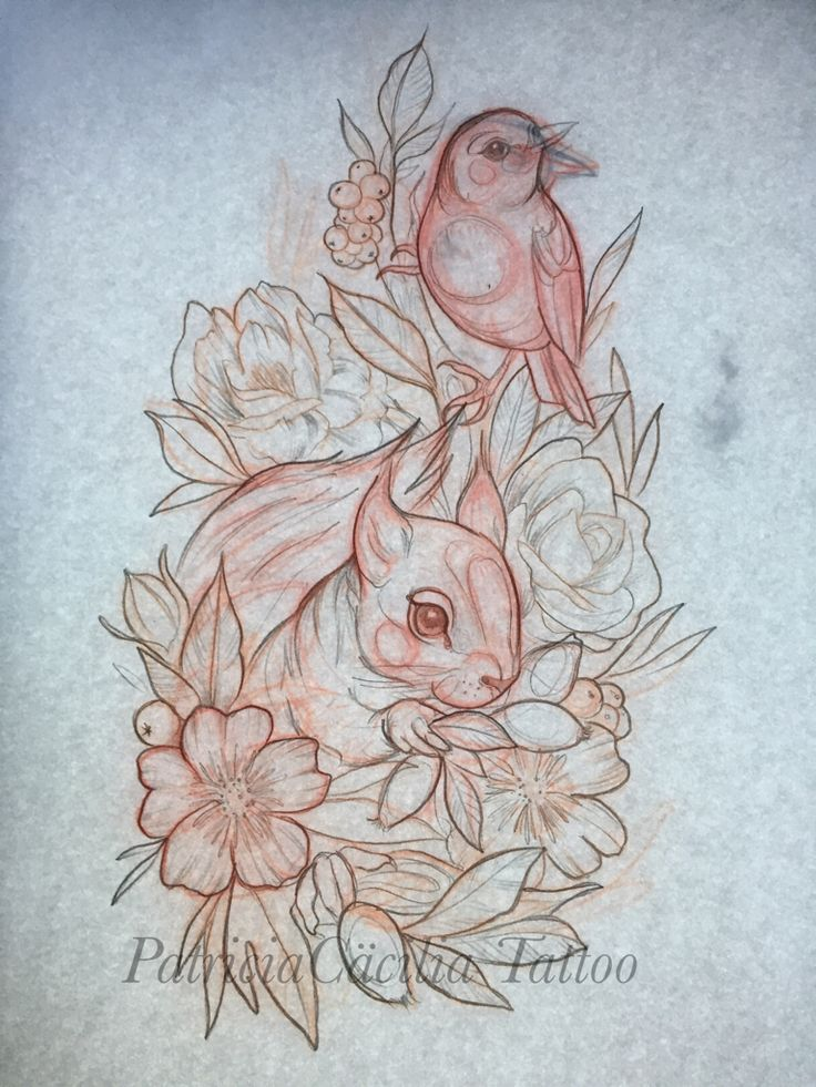 By PatriciaCäcilia Squirrel Bird flower Rose cherryblossom cute tattoo drawing girly scetch ink