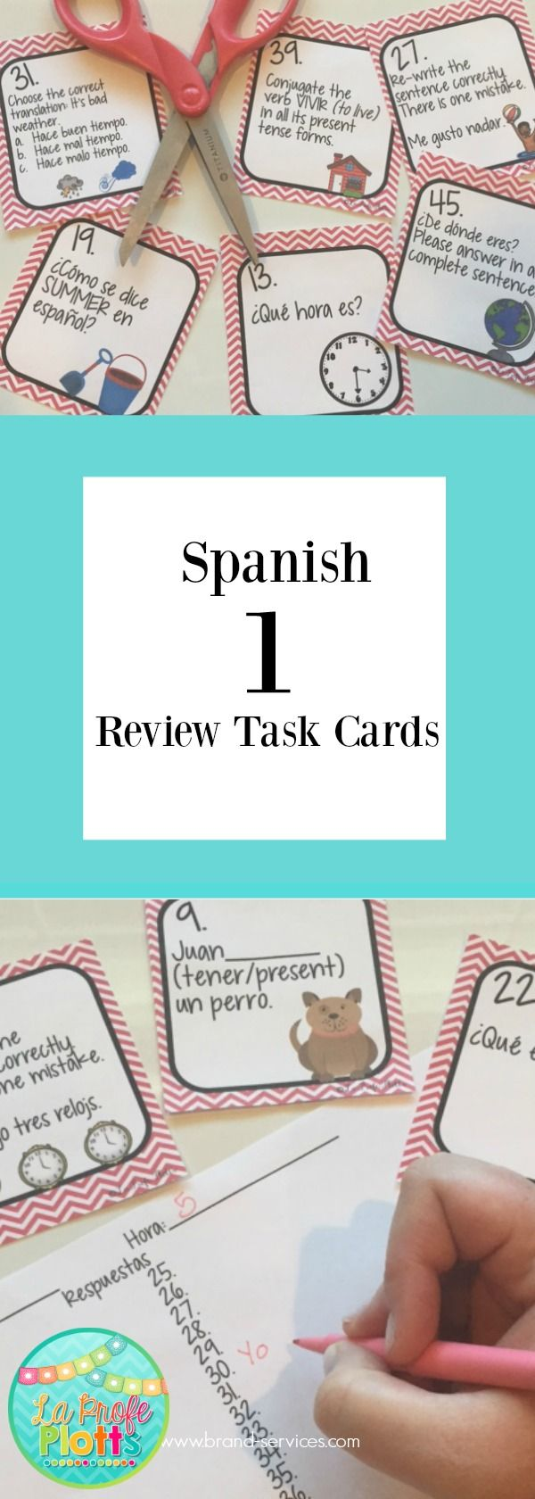 Review Spanish 1 concepts with your Spanish 2 students at the beginning of the year or go over everything with your Spanish 1 students at the end of the year before they head off for summer with this fun set of task cards!