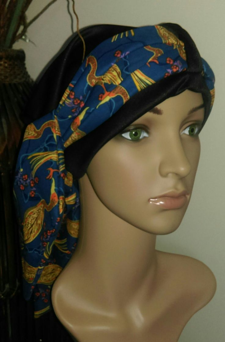 Chemo Cap with a beautiful bright scarf