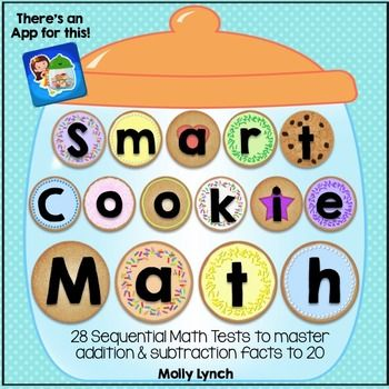 """Addition and Subtraction Facts Made Fun & Easy! Buy the Smart Cookie Math BUNDLE and save!Did you know """"There's an APP for that?"""" Check out the Smart Cookie Math App in the iTunesd Store!Each child will have their own cookie jar to fill one cookie at a time by successfully completing 30 problems in 2.5 minutes!"""