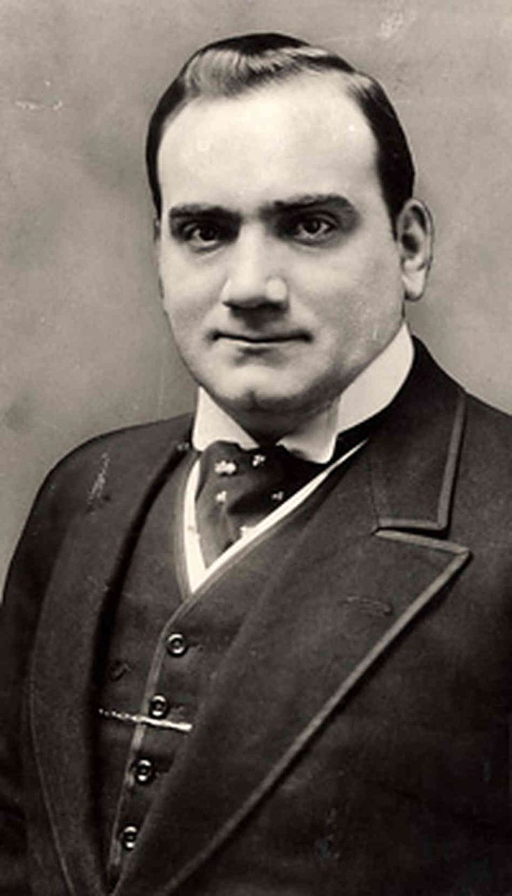Enrico Caruso was an Italian tenor. He sang to great acclaim at the major opera houses of Europe and North and South America 1873-1921