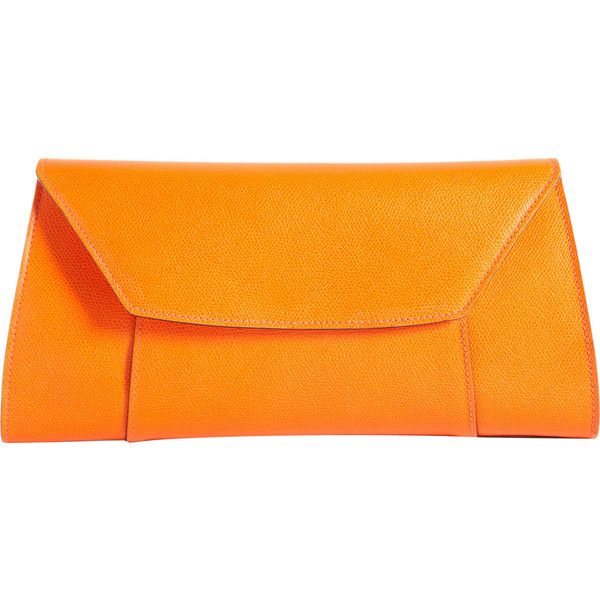 Valextra Handy Clutch ($1,150) ❤ liked on Polyvore featuring bags, handbags, clutches, orange, accessories handbags, valextra handbags, valextra and orange clutches