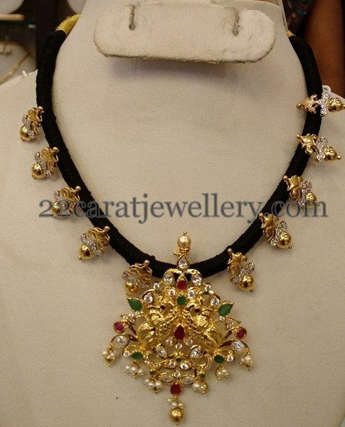 Black Beads Set With Gold pendant