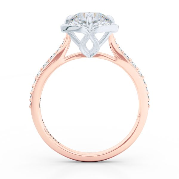 Design your engagement ring online. Bashert Jewelry. La Vie En Rose. Paris Collection. Custom Halo Engagement Ring. Rose Gold and Platinum. This design has a Matching Diamond Band