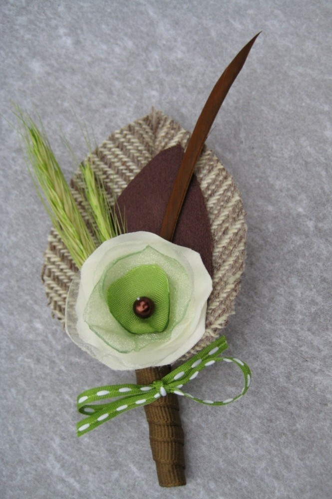 Paul - Fabric flower and wheat boutonniere. $16.00, via Etsy.