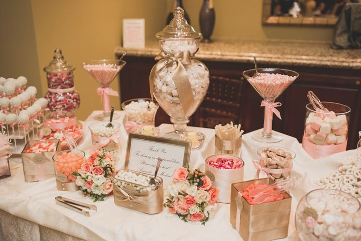 pink and blush tones candy bar wedding dresses etc