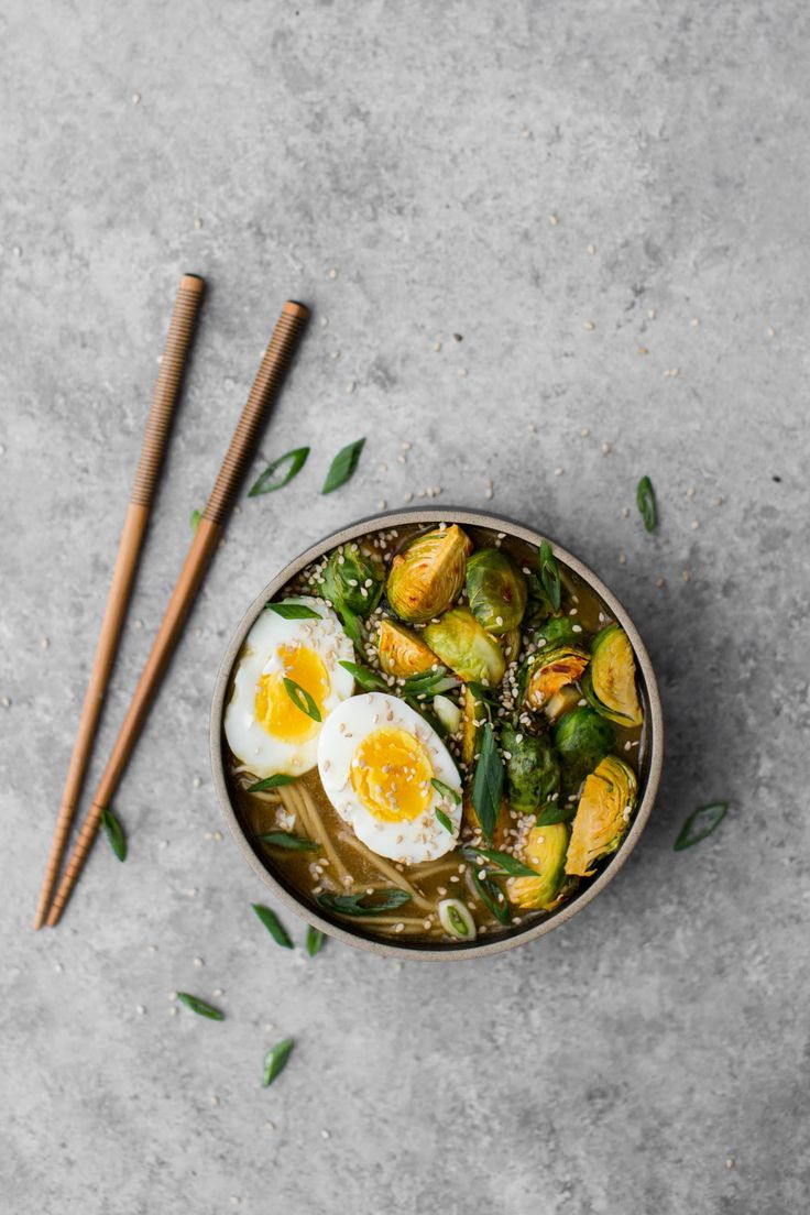 An easy vegetarian ramen recipe featuring Brussels Sprouts roasted with sambal oelek, ramen noodles, and eggs. Perfect for a hearty lunch or dinner.