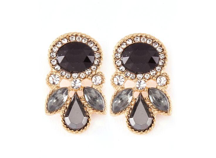 Juniper Earrings in Black Diamond Crystal