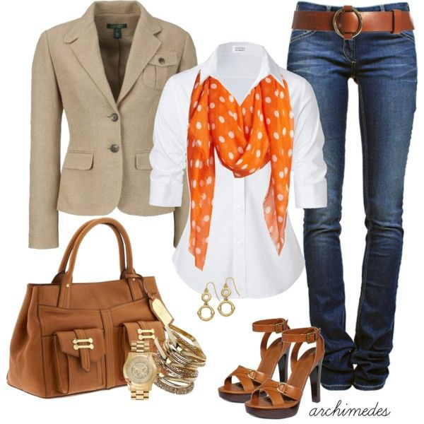 Fall Outfit: Orange, Fall Fashion Outfits, Casual Friday, Polka Dots, Autumn Fall, Fall Outfits, Scarves, Scarfs, Casual Outfits