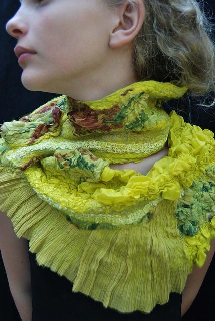Yellow/green nuno felt scarf by sassafrasdesign, via Flickr