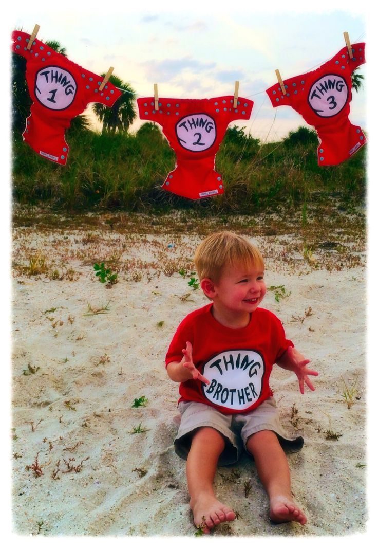 Triplet Announcement! Thing 1, thing 2, thing 3, thing brother, triplets, pregnancy announcement, pregnancy reveal, Tailored Tushies Cloth Diapers