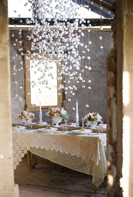 suspended marshmallows for flurries for a winter wonderland party Just apply a little glitter for an extra sparkle.