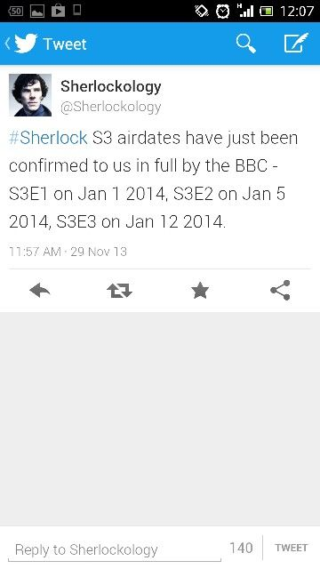 UK Air Dates for Sherlock Season 3 confirmed to Sherlockology by BBC!!!! At least we don't have to wait like 3 months in between!!!
