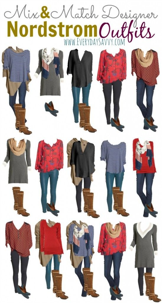 15 Mix and Match Fall and Winter Outfits From Nordstrom. Super cute mixed media tops, jeggings, Ugg boots and more!