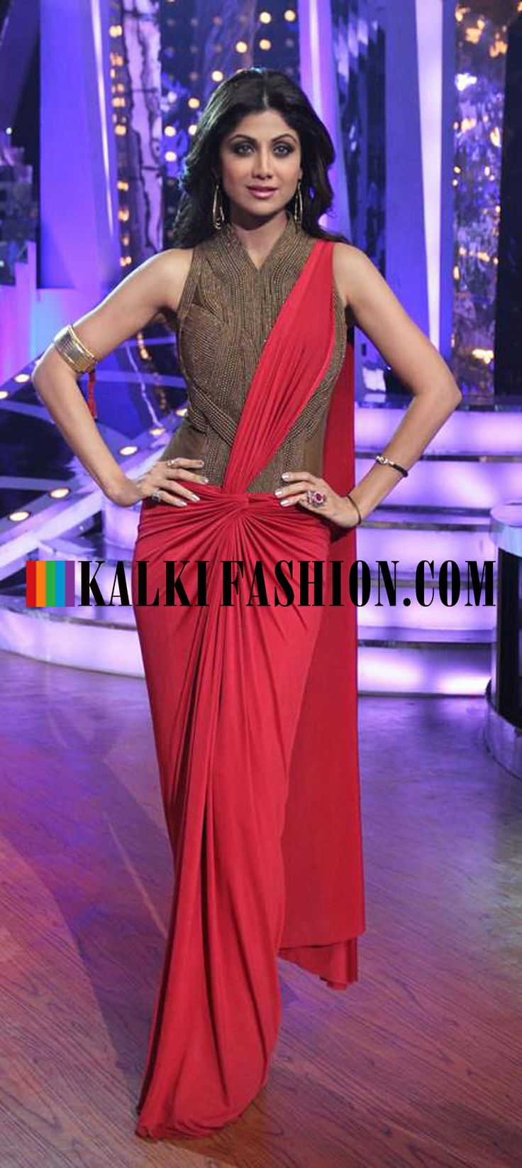 http://www.kalkifashion.com/ Shilpa Shetty in red drape gown by Amit Aggarwal on the set of Nach Baliye Season 6