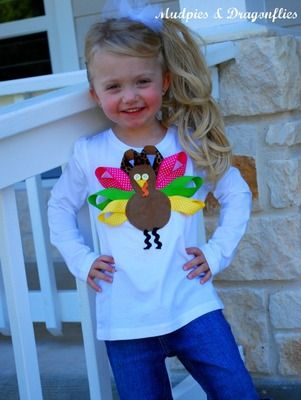 Childrens Thanksgiving Ribbon Turkey Shirt