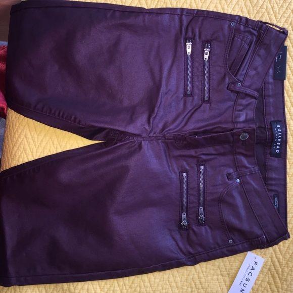 Bullhead Coated Plum Jeans Coated Jeans, deep plum color, size 28 (waist seems a little larger than 28) Bullhead Jeans Skinny