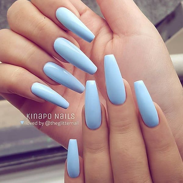 Powdery Baby Blue On Long Coffin Nails Nail Artist Kinaponails Follow Her For M Coffin Nails Long Stiletto Nails Designs Gorgeous Nails