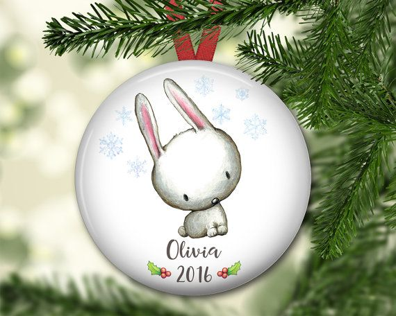Personalized Christmas ornaments for kids and babies featuring a cute bunny.