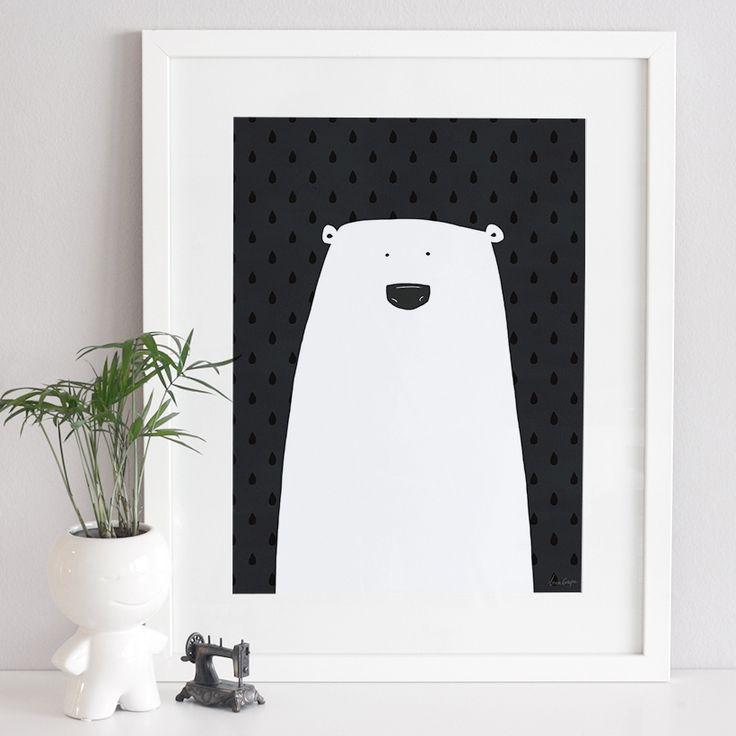 Polar bear art print poster - unframed (assorted sizes)