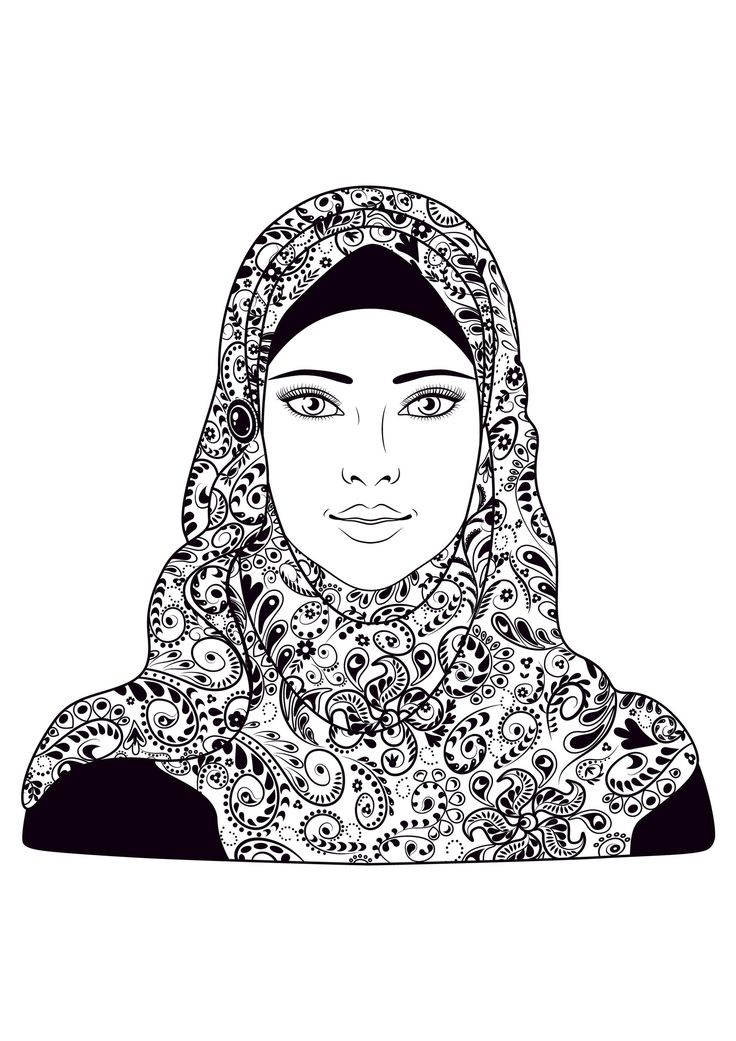 a young muslim girl who wear the hijab, From the gallery : Oriental, Artist : Valentyna Smordova
