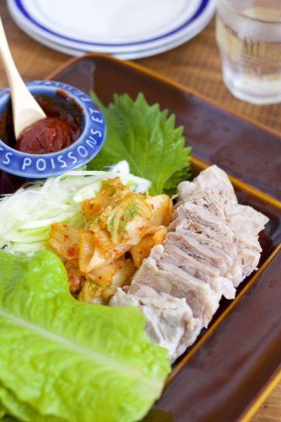 お鍋に放置で完成♡「ゆで豚の韓国風サンチュ巻き」【おもてなしレシピ#8】
