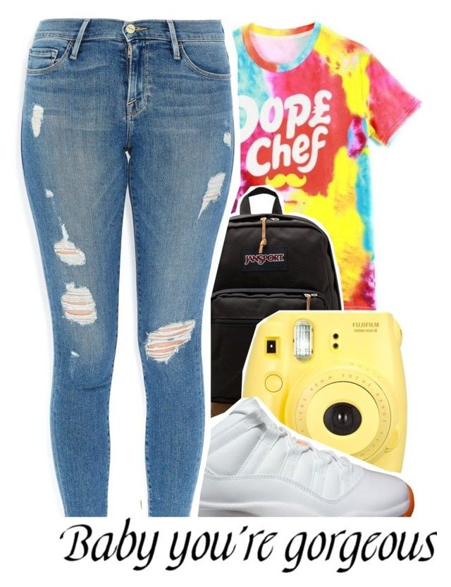 """Untitled #220"" by g-0-l-d-3-n-princess ❤ liked on Polyvore featuring moda, Dope Chef, JanSport y Frame Denim"