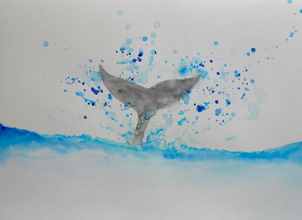 Whale Tail, Whale Splash Painting