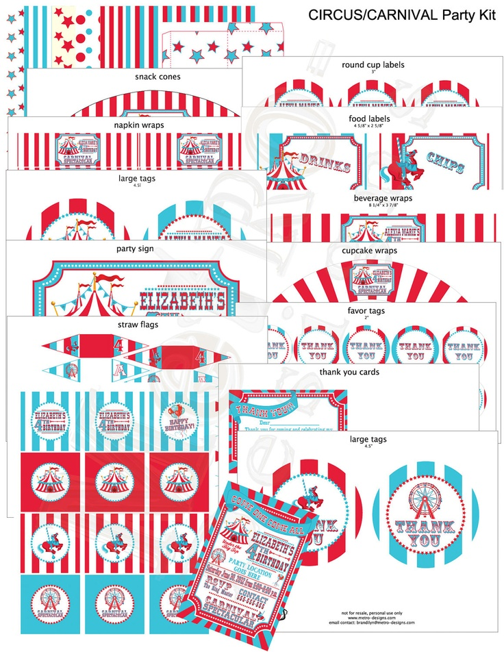 Circus Carnival Theme Party Package Digital File by MetroEvents