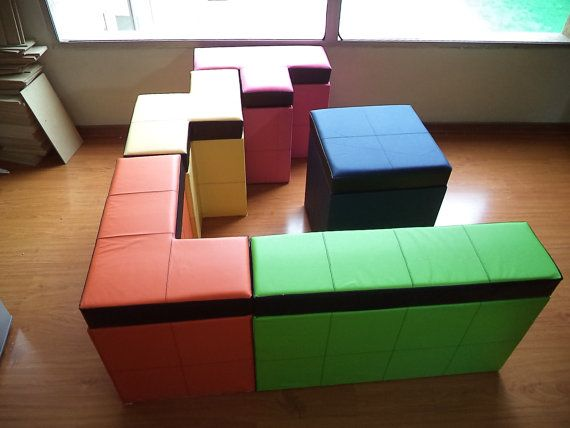Set of 5 pieces of tetris-shaped Storage Benches  por GeekThatUp