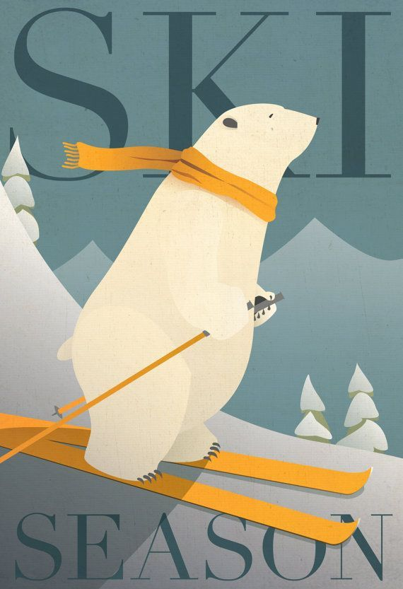 SKI SEASON Ski Poster. Winter Cabin Decor - Polar Bear - Vintage Style Print.