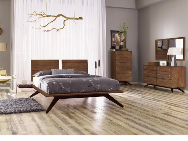 LOVE this bed! | Astrid Walnut Bedroom Set. Dramatic, ultra modern-contemporary design. Handcrafted in Vermont with solid walnut wood. Fun Fact: The Astrid Bedroom Furniture Collection is named after a beautiful Scandinavian goddess.