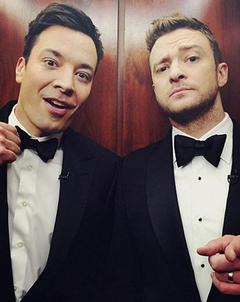 Justin Timberlake and Jimmy Fallon  behind-the-scenes of Sunday's Saturday Night Live 40th Anniversary special