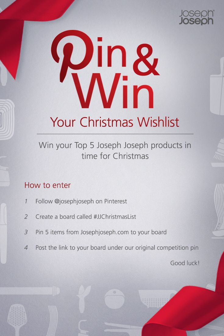 Hoping Santa will bring some new Joseph Joseph kitchenware for #Christmas? Enter our Christmas Wishlist #competition to #win your top 5 Joseph Joseph items! Click here for more info> http://bit.ly/JJChristmas-pinterest