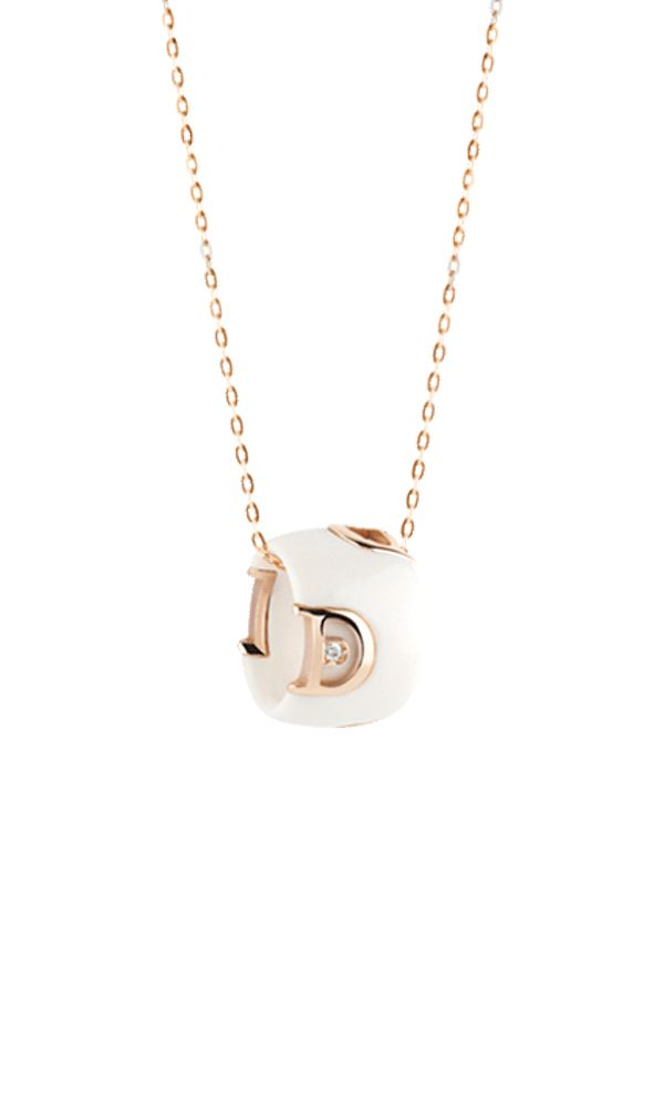 D.Icon white ceramic, pink gold and diamond necklace
