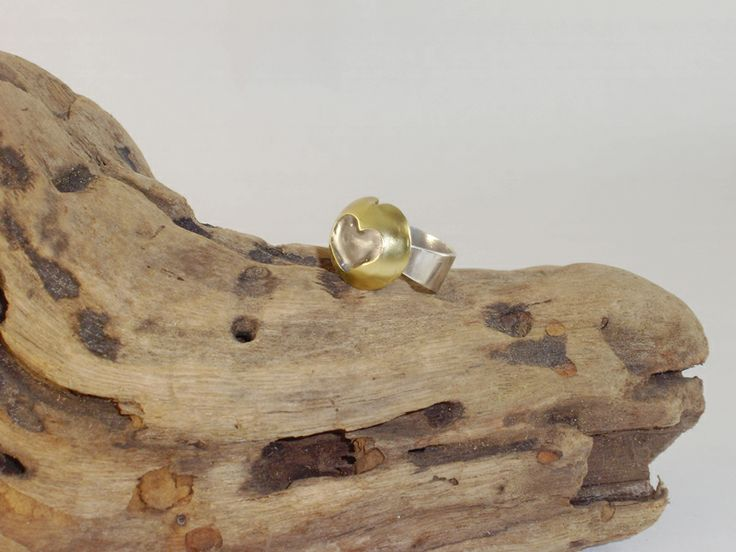 Ring from brass with heart