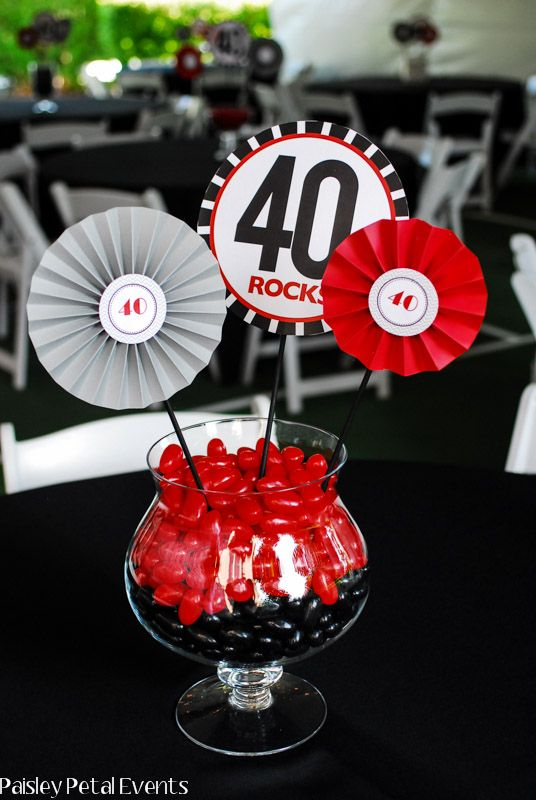Easy 40th birthday party centerpieces using jellybeans as the base with colorful mini round fans as toppers.