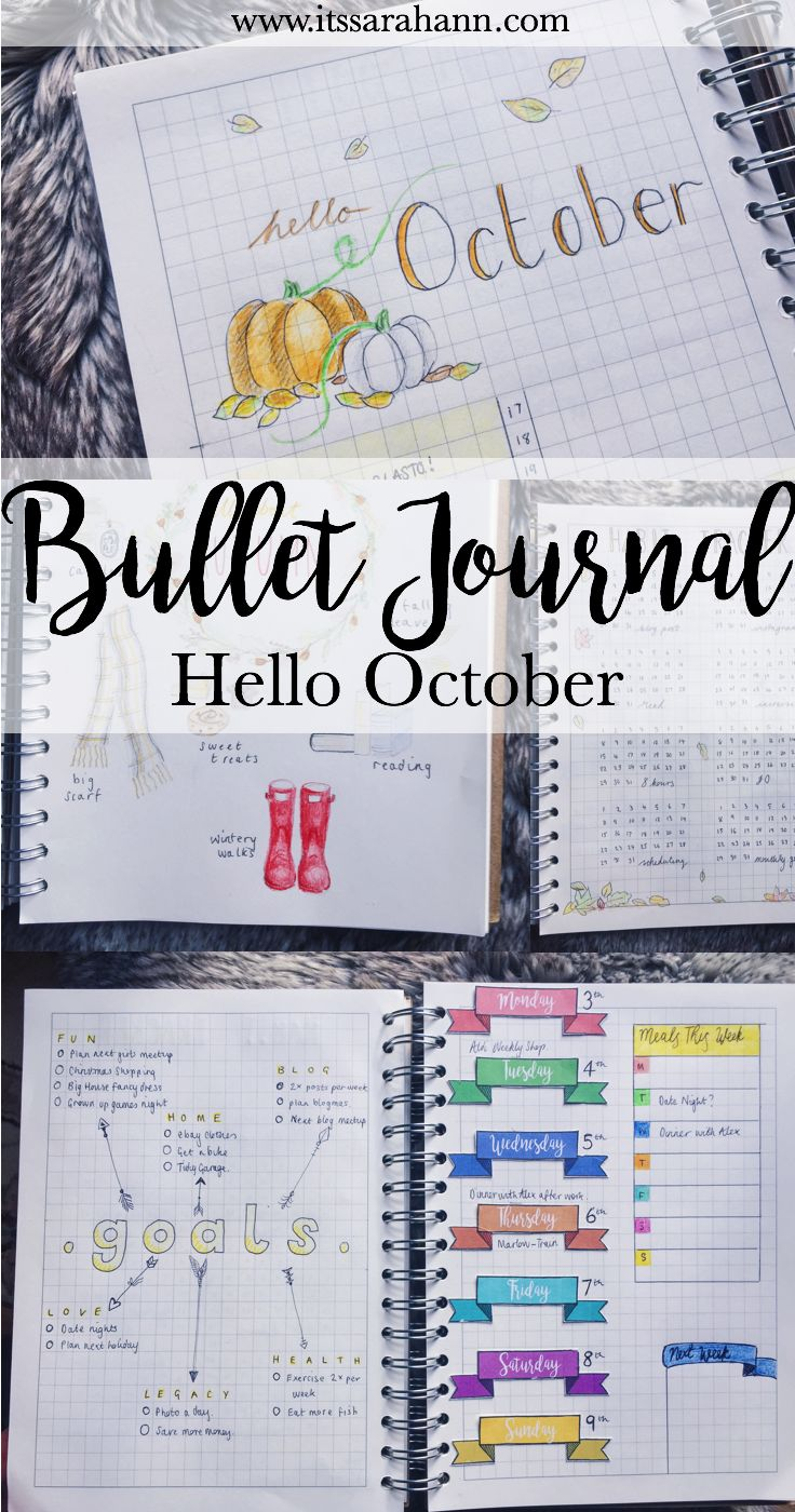October Bullet Journal Monthly Spread setup, with goals, habit tracking, monthly logs, illustrations and more.