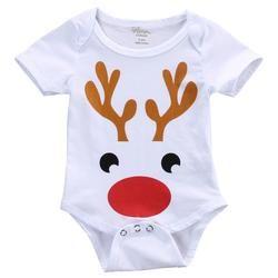 Christmas deer Kids Baby Boy Girl Clothes Deer Cotton Romper Short Sleeve Jumpsuit Outfit Set One-piece