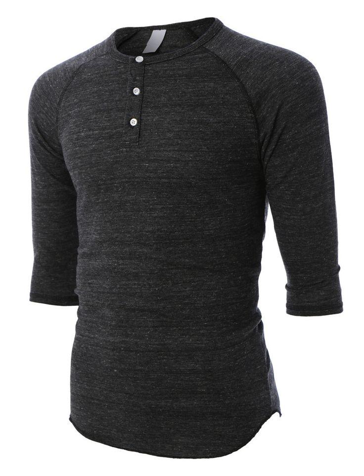 LE3NO PREMIUM Mens Slim Fit Raglan 3/4 Sleeve Baseball Button Henley Shirt