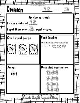 Graphic Organizers to teach division with counters. Includes TASK CARDS to create word problems using pictures