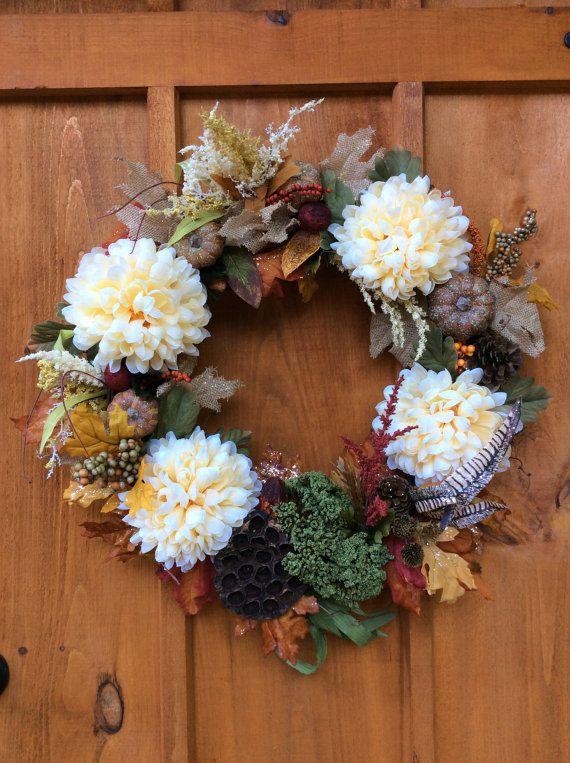 Fall Flower Wreath, Artificial Silk Flower Wreath, Front Door Grapevine Wreath, Door and Wall Decor, Autumn/Fall Wreath, Made in Canada