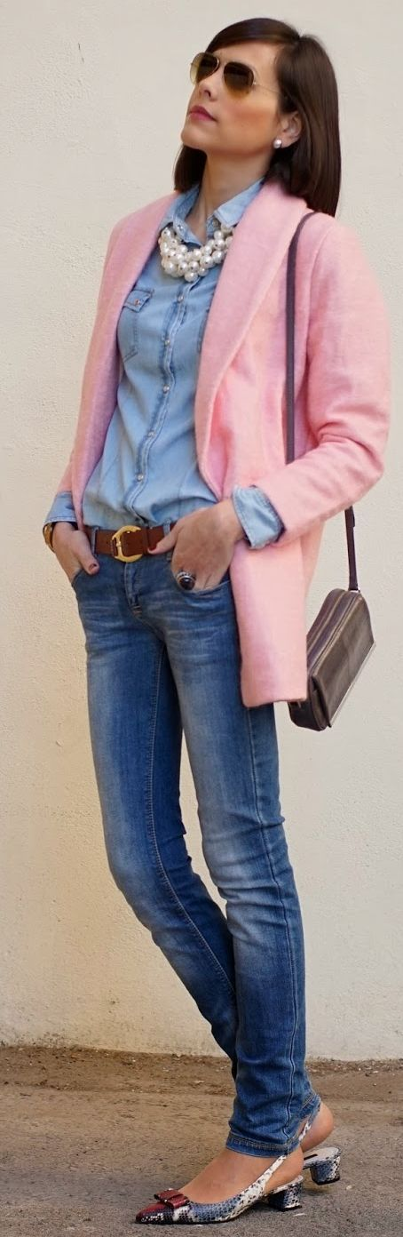 Choies Pink Lapel Coat by Be Trench. Love it with jeans, flats, chambray shirt and pearl statement necklace!