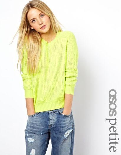 Ażurowy sweter - ASOS - żółty neon
