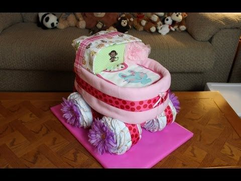 How to make a baby shower diaper stroller