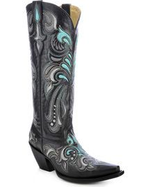Corral Women's Embroidered Tall Cowgirl Boots - Snip Toe,