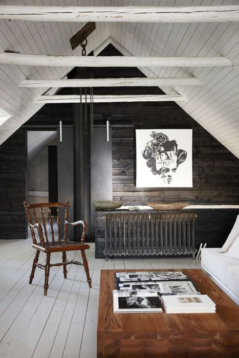 black wall in an attic room