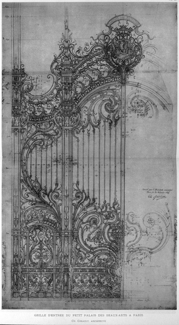 """Charles Girault •""""Grille d'Entrée du Petit Palais des Beaux-Arts a Paris"""" (1899)"""
