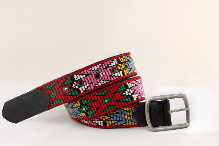 Handmade woven belt created on wooden-manual loom. Pattern of Thracian traditional female outfit. The belt is entirely decorated from particular designs all embroidered.