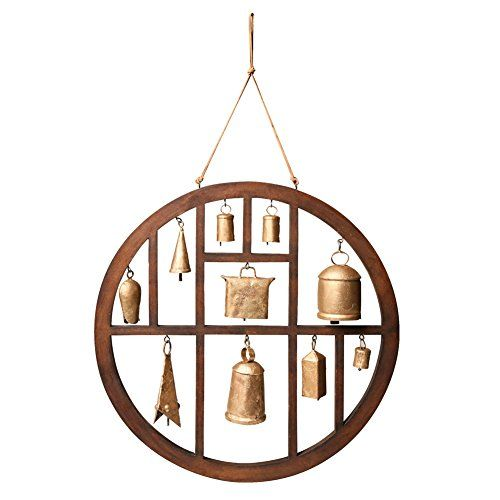 "Circle of Bells Indoor/Outdoor Wind Chime - A rare find: ten golden bells in varying shapes and sizes, framed in mahogany-stained wood composite. Hang it on a wall to admire, like an exotic collection, or suspend it like a wind chime and enjoy its occasional music. Enjoy indoors or out in a protected area. 18"" diameter, 9"" leather hanging ..."